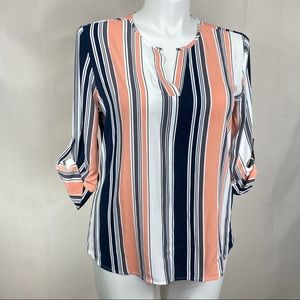 41 Hawthorn top striped 3/4 roll sleeve blouse